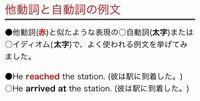 自動詞・他動詞の質問です ①He reached the station. (彼は駅に到着した) 他動詞  ②He arrived at the station. (彼は駅に到着した)自動詞   ①のreachedの目的語はthe stationというのは分かるのですが、②のarriv...