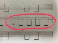 エレキギター初心者です。TAB譜で分からない記号があるんですが、画像のスラッシュはどういう意味なんでしょうか。。。教えて頂けると嬉しいです。画像見にくかったらすみません。。。
