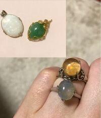 宝石やジュエリー、貴金属に詳しい方に質問です。 この画像の4つの石は何の種類か分かるでしょうか? 祖母の家から出てきたものです。指輪にはwgと刻印してありました。 もしただの石だった場合、査定に持っていくのが恥ずかしいので分かる方教えて頂きたいです!
