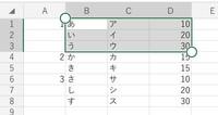 VBAについて質問ですm(_ _)m  以下の画像のような表があります。 A列、「1」の下は「2」が出てくるまで空白、「2」の下は「3」が出てくるまで空白です。 この例えの表で言うと、 セルA2、A3は空白 ですが「1」のグループ、 セルA5は空白ですが「2」のグループ、 セルA7、A8は空白ですが「3」のグループ という意味の表です。  そのとき、画像のように、 ①A...