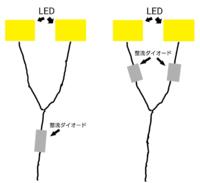 整流ダイオードの使用について 2つのLEDを並列接続で繋ぎ、電流の逆流を防ぐために整流ダイオードを使いたいです。そこでどちらが正しい使用方法か教えてください。 ①LEDの2本の配線を1本に接続したあとに整流ダ...