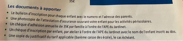 フランス語わかる方お願いします。 必要な書類には、何とかいてあるでしょうか? 子供の放課後アクティビティの申し込みです。 よろしくお願いします。