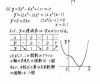 異なる実数解の個数を求める問題で、増減表の矢印はこの問題の場合どうやって決めればいいですか?