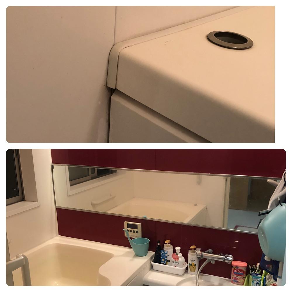 風呂のリメイクで質問があります。 風呂の鏡の取り替えとプチ模様替えを考えています。 1つは鏡の取り替えです。 今の家(持家)に住んで10年以上経ち鏡の汚れが酷く、かなり色んな洗剤を試しましたが...