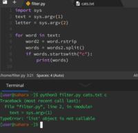 お世話になります。パイソン(Python)について  複数の英単語を含むテキストファイルからCで始まる単語を抽出するコードを書きたいです。 パイソンファイル名の横にテキストファイル名と文字を入力できるように...
