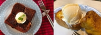 食べたいのはどっち?  ①浸みチョコフレンチトーストとバニラアイス乗せ。 ②フレンチトーストのバニラアイス乗せ。