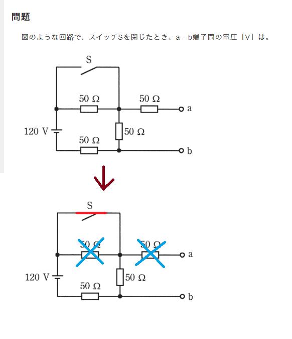 【画像】第二種電気工事士の問題で質問! 図のような回路で、スイッチSを閉じたとき、a - b端子間の電圧[V]は。 なぜこの問題はスイッチSを閉じると50Ωが2つ無効になるんでしょうか?? 回答...