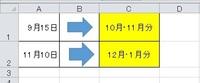 エクセルについて質問です。 添付のようにAに日付を入力するとCに翌月、翌々月を表示させる関数を教えてください。 よろしくお願いします。