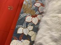 成人式の振袖について  母のものを着たいと考えています。 しかし帯締め、帯揚げ、伊達衿は好みではなかったので購入したいのですが、どのようなものがこの振袖に似合うかアドバイスを頂きたいです。 左から振袖、帯、ファーです。 振袖には胸元の紋以外に柄はありません。 色味はほとんど写真の通りです。 よろしくお願いします。