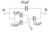 電圧を求める  画像でa-b間の合成容量は37.5μF? でそれに対して全体に120vかけた時の端子ac間の電圧は何ですか?