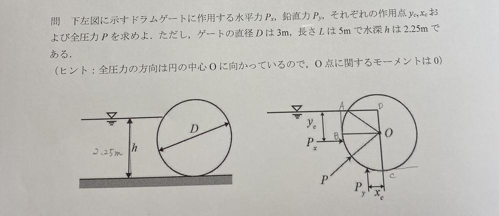 流体力学の問題です。静水圧、ドラムゲートに関する問題なんですが、合っているかどうか確かめたいのでわかる方、教えて下さい。