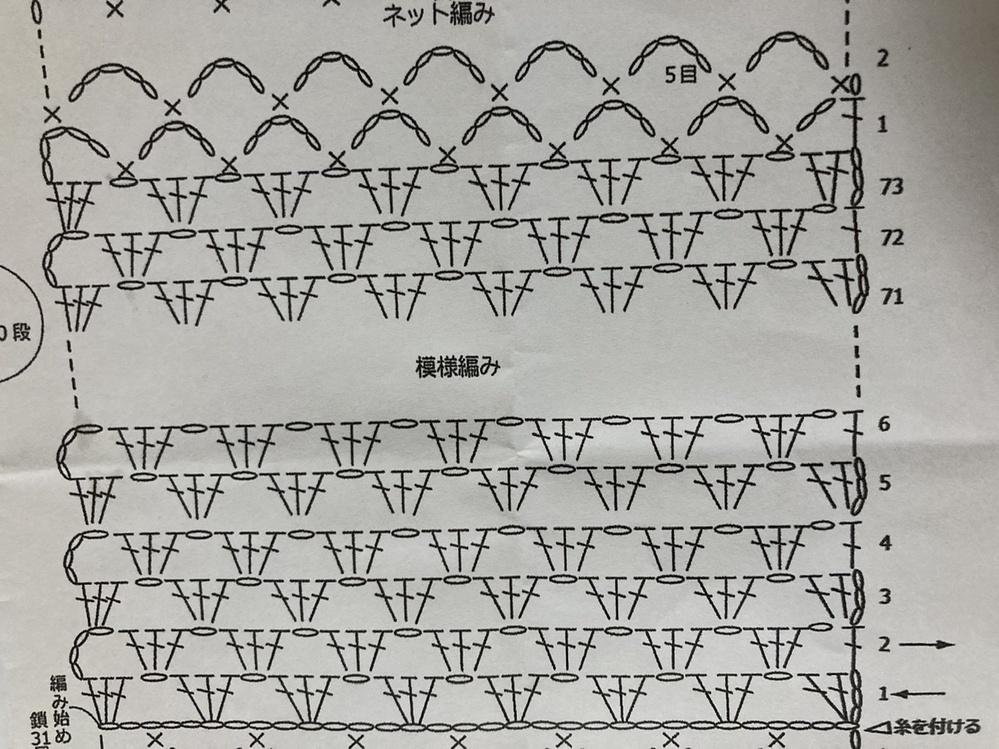 かぎ針の模様編みについて 画像の3段目の編み始めと編み終わりの長編みは束に拾うのではなく、目を割って拾うのでしょうか。 ご教示いただければ幸いです。