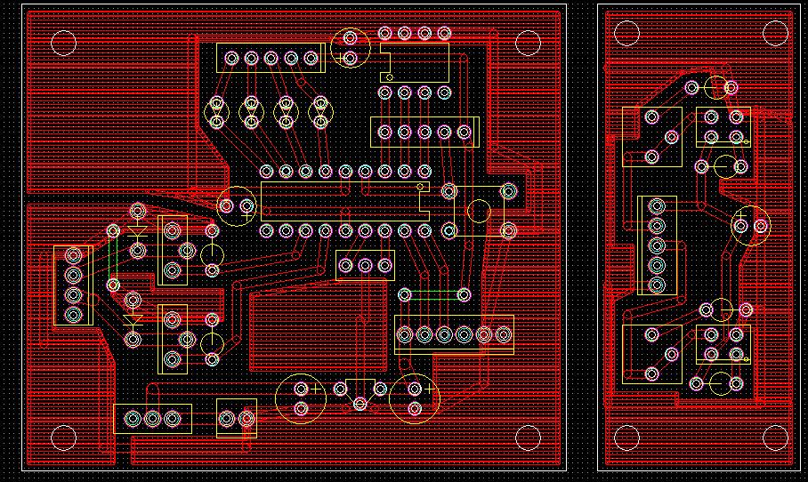 FusionPCBへの発注について FusionPCBで基板発注をしたことがある方,またその辺に詳しい方に質問です. 画像のように独立した2つの基板を1つのガーバーファイルにまとめてしまった場...