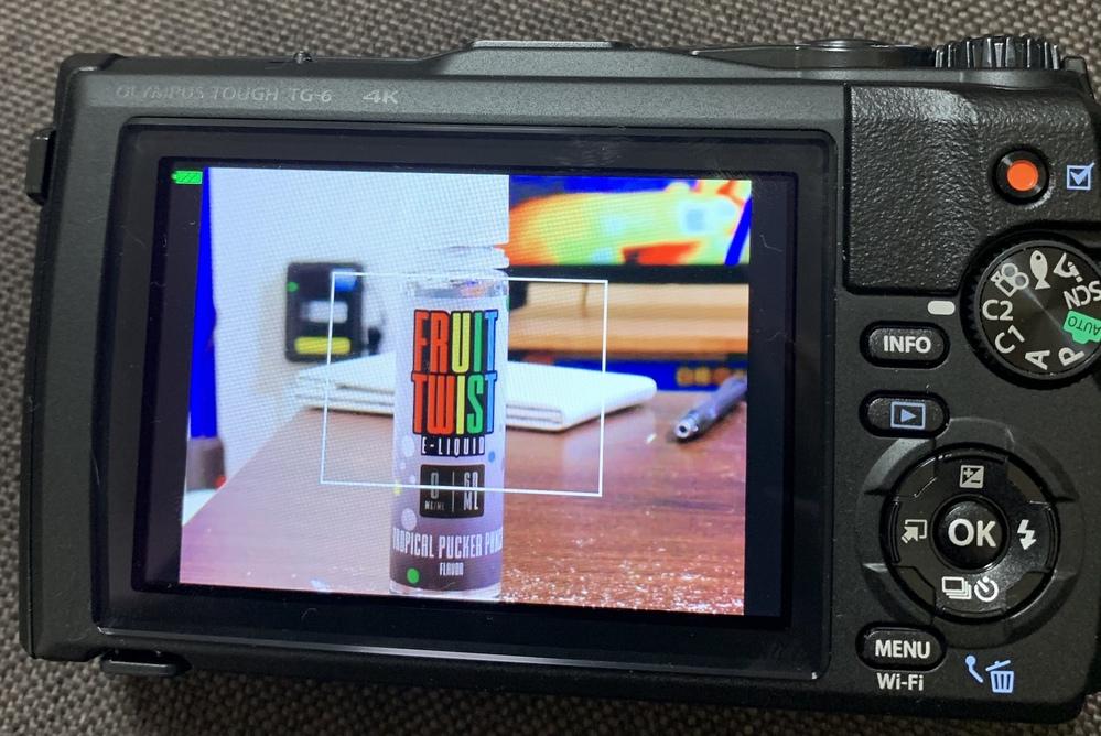 OLYMPUS tg-6のカメラについての 質問です。 tg6にはテレコンが使えるかと思うのですが Pモードにてテレコンを使い撮影してみるのですが 添付した画像の様に四角に囲われた写真が 撮影...