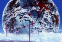 エヴァQで、シンジがカヲルと霧晴れたあと見上げた時、地球儀みたいな物体↓があったけど、あれはなんでしょう? あとヴンターがシンジ回収後戦闘してた場所は、地球じゃなく月だとかいう説明見たけど、本当ですか?