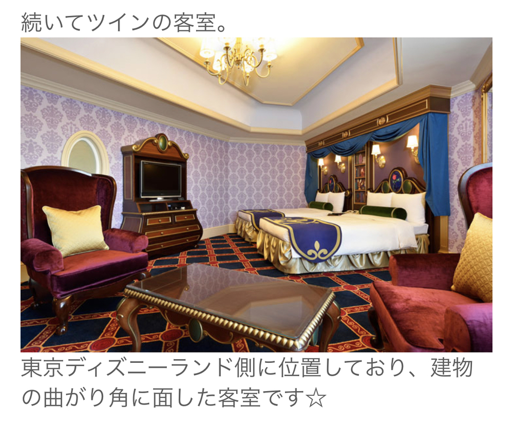 12月に美女と野獣ルームに泊まりたいと思っているのですが、画像のツインの部屋の名前は何というのでしょうか? また、楽天トラベルなどの予約を探しても見つからないのですが、ホテルへの直接予約しかない...