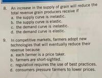 経済学の問題です。8の答えがc,9の答えがaなのですが、その理由が分かりません。経済学に詳しい方、英語が得意な方、教えてください。お手数お掛けしますがよろしくお願い致します。
