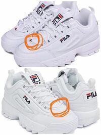 FILA ディスラプターのスニーカーで、ここにロゴのあるやつとないやつでは何が違うのでしょうか? 教えてください。