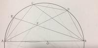 線分ABを直径とする円Oの周上に点Cをとる。 角CABの二等分線と円Oとの交点のうち点Aでない方をD,角CABの二等分線と円Oとの交点のうち点Bでない方をEとする。線分ADと線分BEの交点をFとする時、角EAFの大きさはどのように求めますか?