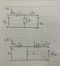 電気回路の問題なんですが、解き方が分からなくて分かる方いましたら教えてください。  次の2つの回路のZパラメータを求めなさい ※ただし、外部に接続される周波数をωとせよ。