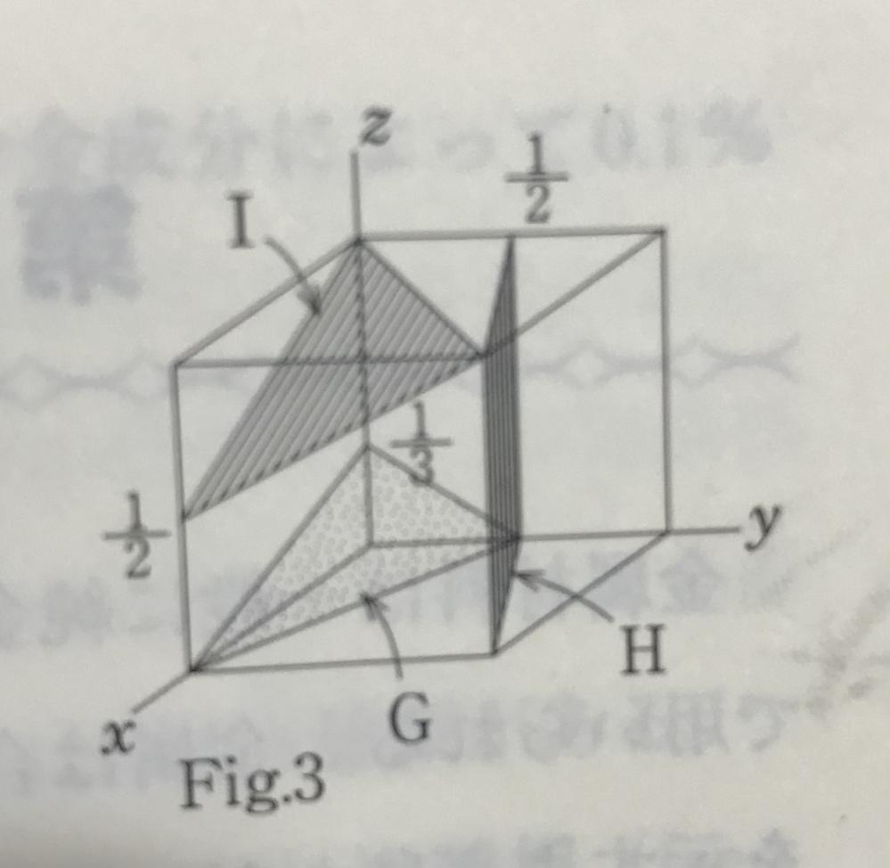 面のミラー指数を求める練習問題が解けず困っています。下の図のHとIのミラー指数の求め方を詳しく教えていただけないでしょうか。 よろしくお願いします。