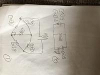 電気回路の問題の解答、解説をお願いします。 (1)①の回路で中心の20[Ω]の抵抗に流れる電流I=0[A]にするためにはXを何Ωにすればよいか? (2)①の回路でX=4[Ω]のとき中心の20[Ω]の抵抗に流れる電流Iをキルヒホッフの法則を用いて答えよ。  (3)②の回路で各枝路に流れる電流を重ね合わせの理を用いて求めよ。