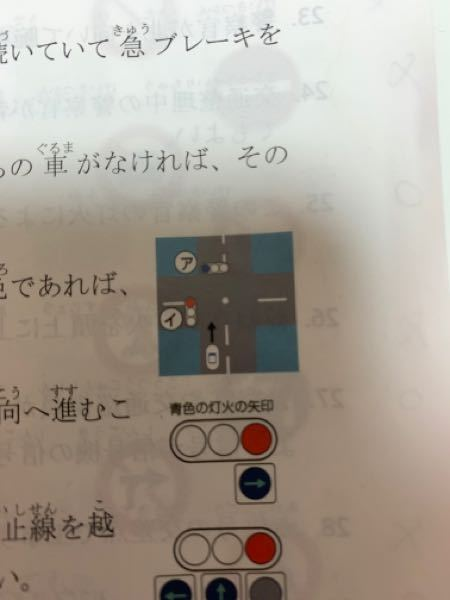 信号の見方についてすごく初歩的な質問です。下の写真のように車から見て正面の信号(ア)が青の時は、二段階右折を除いた自動車は直進、左折、右折すべてができるということであっていますか?左折する時は左...