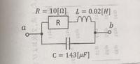 次の回路のab間の合成インピーダンスの求め方を教えてください。f=50[Hz]です