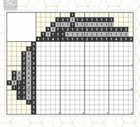 ロジックパズルの解き方を教えてください。 2色のロジックパズルなんですが、四つ星という難易度の割に、始めからお手上げです。 どこか取っ掛かりを教えていただけないでしょうか。 よろしくお願いします。