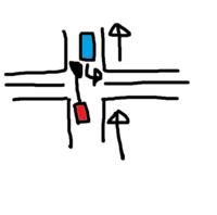 一方通行逆走車とぶつかったら100%勝ちですか?停まっていても勝ちですか?  赤が青にぶつかった場合は、100%勝ちですよね?