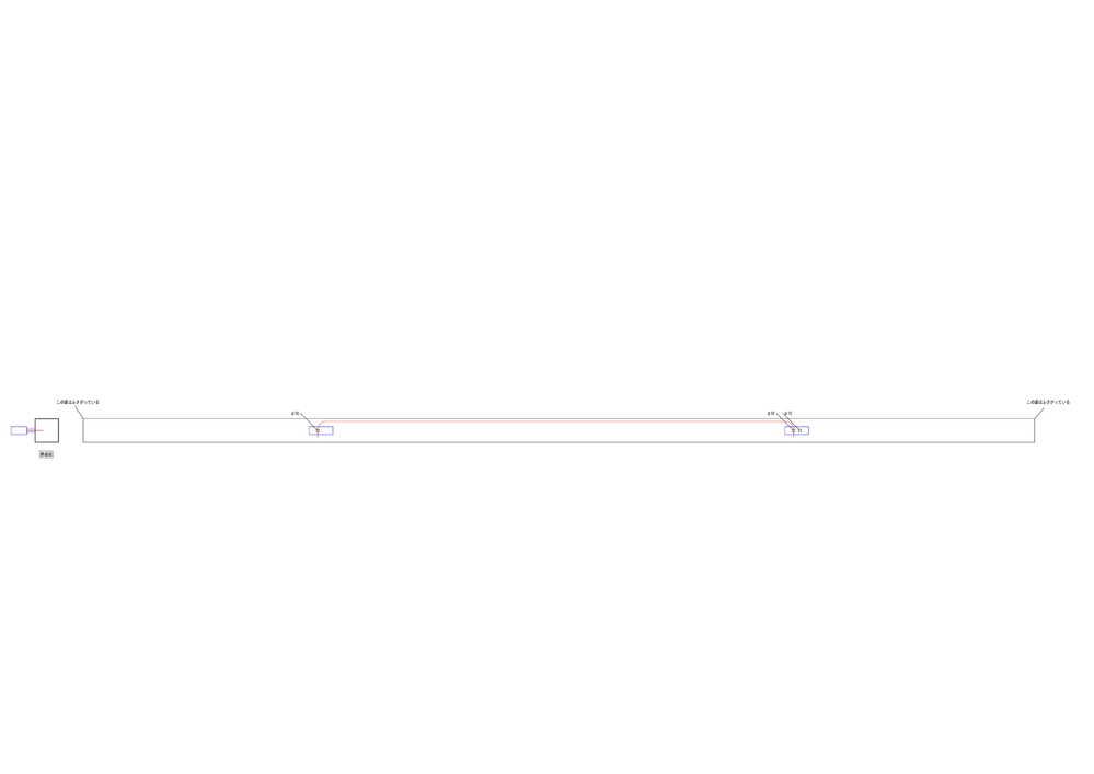 カーポートのアルミ鋼材の中に隠ぺい配線をしたいのですが、添付資料のように考えてます。 ですが鋼材の両側がふさがっており、通したい部分もφ10と小さいものとなり通線が難しくどのようにしたらφ10穴同士で通線出来るかご教示して頂けたらと思います。 宜しくお願い致します。