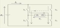 インバ-タ-の構造は簡単に言えば図のS1・S2トランジスタにデジタル信号0(Low)・1(Hi)の順にマイコンで送り、 S3・S4トランジスタにデジタル信号1(Hi)・0(Low)の順にマイコンで送り成り...