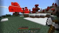 Minecraft統合版の木の葉っぱが赤くなるのですが、これはバグでしょうか? 紅葉リソースパック等は入れていません。 同じ木の中にも葉っぱが緑の部分と赤の部分があったりします。