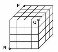 小立方体64個を積み上げて大きな立方体作る。 これを3頂点P,Q,Rを通る平面で切断した時、切断される小立方体の個数は全部でいくつか  この問題の解答を教えてください。