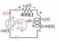この図より、インダクタと抵抗に流れる電流i(t)、インダクタの端子電圧VL(t)と抵抗の端子電圧VR(t)をラプラス変換して求めよ。 という問題なのですが、分からず手が止まっている状態です。どのようにすれば求めることが出来るのか、詳しい方ご教授して頂けると助かります。