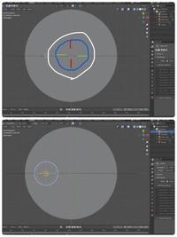 Blender 2.9 オブジェクトを公転させようとした際に、3Dカーソルは原点にあるのに オブジェクトが回転の軸になってしまい、自転してしまいます(写真下)。 どうすれば上の写真の様に回転の軸を3Dカーソルの原点にすることができますか? 回答よろしくお願い致します。