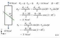 材料力学についての質問です。 斜面上の垂直応力、せん断応力を求める問題で反時計回りに30°傾く場合、この画像のθは330°を代入するのが正解でしょうか? 分かる方教えてください