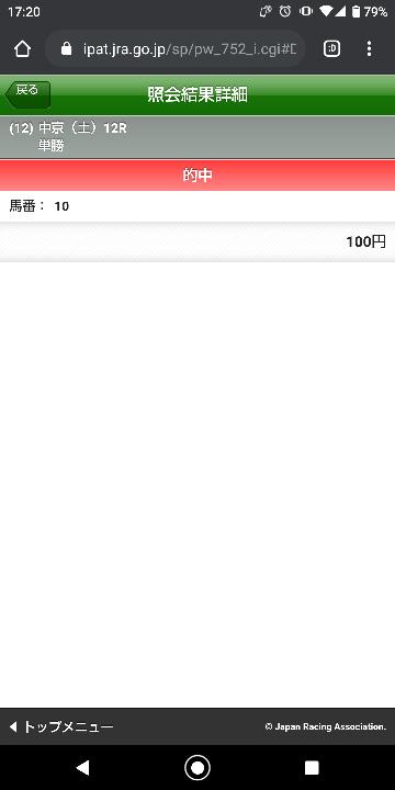 中京12Rの16頭中16番人気オッズ299.5倍を単勝一点買いして当たりました・・・ 僕を褒めてくださいm(__)m