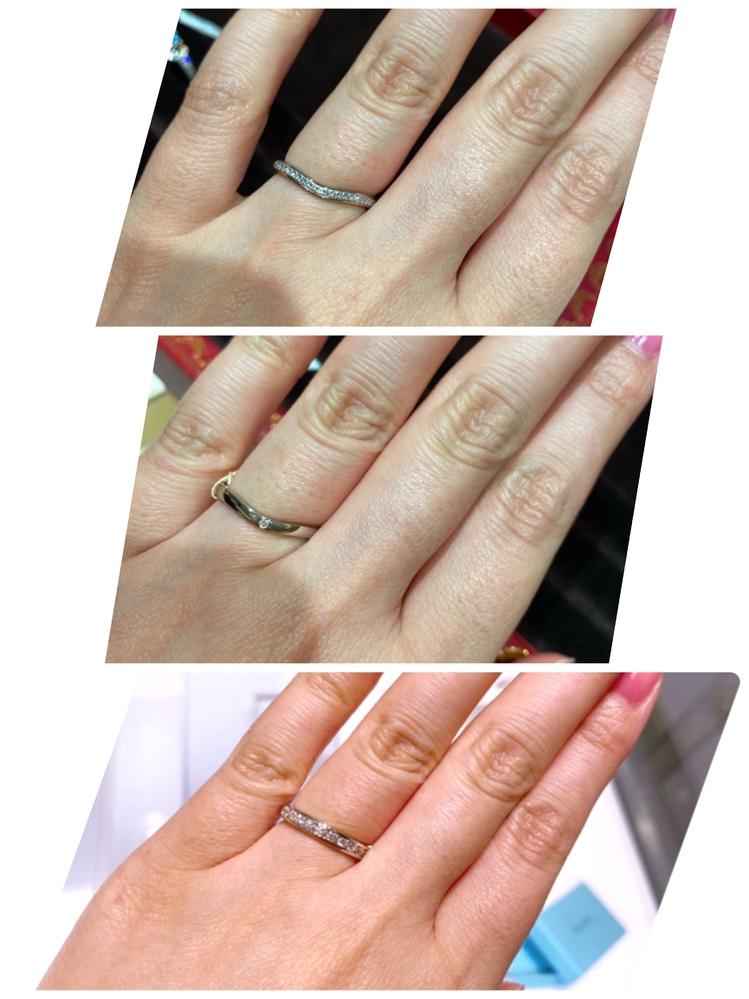 結婚指輪の幅で悩んでいます。 指輪のサイズは10号です。 写真の3点の中だと見た感じはどれが良いですか?(分かりづらい写真ですみません…また照明の関係で下だけ指の色がピンクっぽく写っています。) 上と