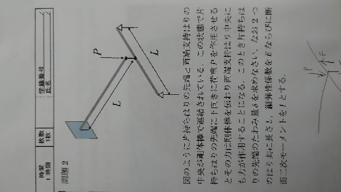 【急ぎ】材料力学 たわみの問題の解き方をご教授ください。 図のように片持ちはりの先端と両端支持はりの中央が剛体棒で連結されている。この状態で片持ちはりの先端に下向きに荷重P作用させるとその力は剛...