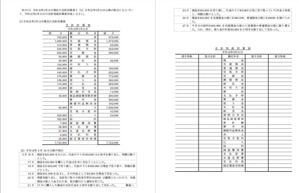 簿記(合計残高試算表作成)について。