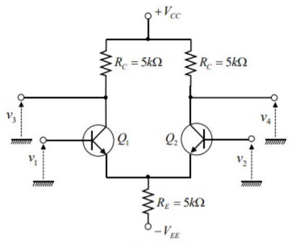 結構至急回答欲しいです 下の差動増幅回路についての問題なんですが 分からないのでので助けてほしいです。 前提として v3=A1v1+A2v2, v4=A2v1+A1v2 が成り立っている。 ...