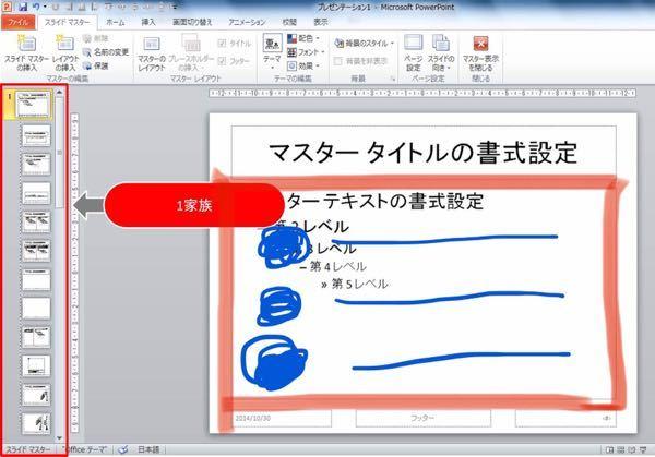 パワーポイントの画像の貼り付け方について教えてください。 下の写真で説明すると、青丸のところに画像を貼り付けその横の青い横棒に文字を打ちたいです。 ですが画像を貼り付けすると赤の枠のところ全てが...