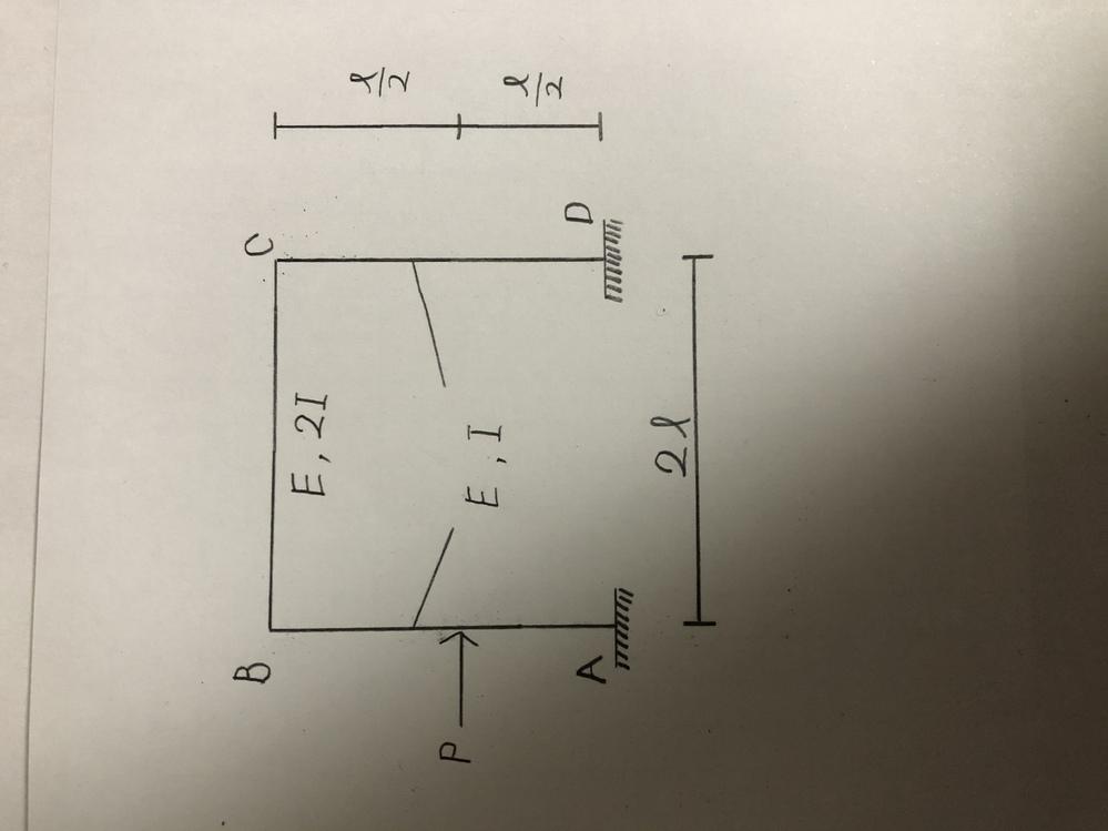 たわみ角法の問題が分からないので、どなたか助けてください。剛比を用いたたわみ角法で解き、曲げモーメント分布を求めよ。 ただし、剛比は柱の剛度を標準剛度として求めよ。よろしくお願いします。