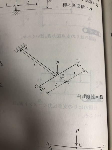 たわみの問題です。点Bのたわみを求める問題なのですが、答えは P/6EIになります。 自分で ①P=p1+p2 ②変位が等しいこと を利用してやると答えが P/9EIになります。 このやり方...