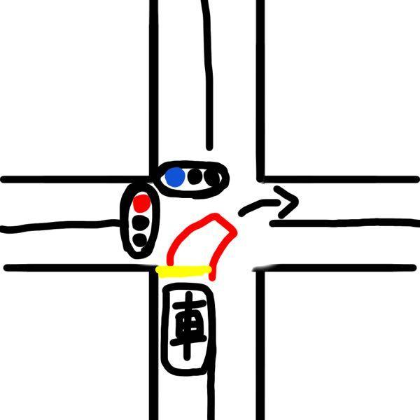 交通ルール 交差点について質問です。 交差点で右折するとき 赤色 で書かれているような待機場所がある場合 交差点の真ん中まで侵入して右折待機をしますよね。 ▪️この赤色 の待機場所が書かれてい...