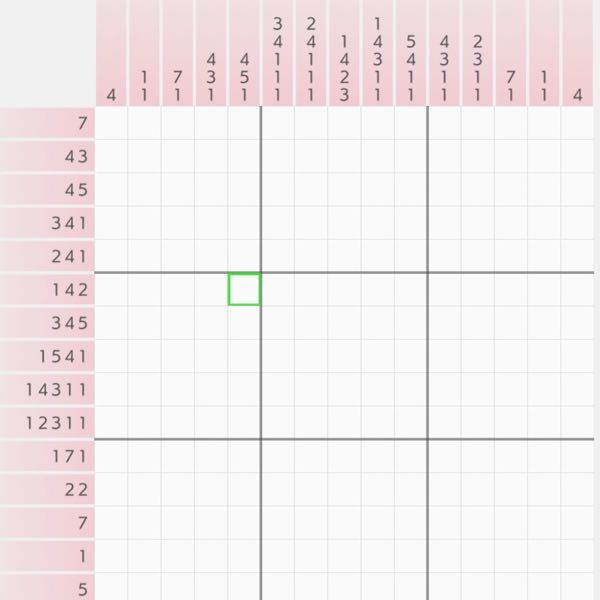 ロジックアートの解法(初心者です) 画像のように、1列における数が多く、確実な判断が難しい問題の場合、どこから手をつければ良いのでしょうか?