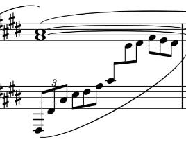 ドビュッシーのアラベスク一番の31小節目なんですけども 横に重なり合う音符でどう弾けばよいのでしょうか? 全音符のラと三連符のラが重なっています。