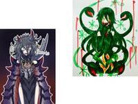 どちらの画像の方が好きですか?理由つきで。左下は擬人化デストルドス、右上は擬人化ビオランテ。