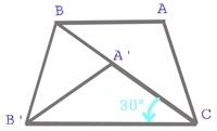 角度を求める問題の求め方がわかりません。 わかりやすく教えてください。 ちなみに答えは45です。    【問題】 図において,△A'B'Cは△ABCを点Cを中心に反時計回りに30°回転したものである。AB//CB'のとき, ∠B...